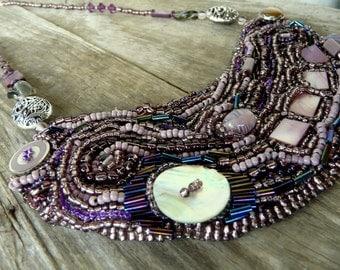 Boho necklace, Beaded necklace, Beaded jewelry, Bohemian jewelry, Statement necklace, Artisan Jewelry, Handmade jewelry,Unique jewelry,gift