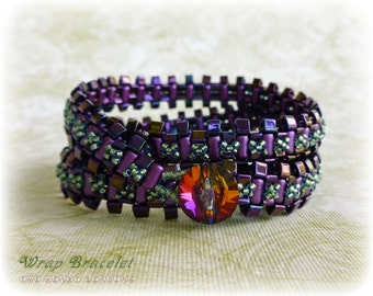 PDF Tutorial Wrap Bracelet with rulla beads, triangles and seed beads by TheHeartBeading - beading pattern PDF file