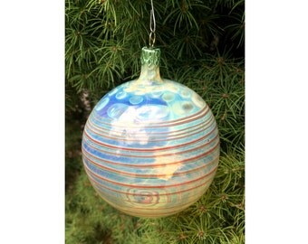 Handblown glass Christmas ornament - Clear and red glass with Silver Fuming