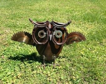 Reduced Shipping!  Rustic Metal Owl Garden Yard Sculpture / Recycled Shovel Horseshoe Saw Blade