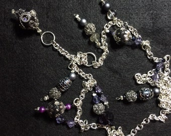 Black and Silver Beaded Necklace