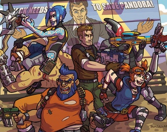 Borderlands 2 Vault Hunters Art Print