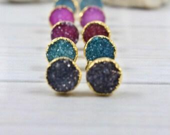 Druzy Earrings, Druzy Stud Earrings, Druzy Post Earrings, Druzy Gold Earrings, 14k Gold Filled Stud Earrings, Raw Stone Stud Earrings, Druzy