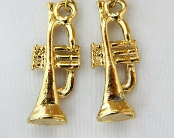 "Vintage Trombone Dangle Drop Statement Hook Earrings Gold Tone 2"", Statement Earrings, Music Earrings, Musical Instrument Jewelry"