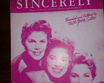 Vintage Sincerely Sheet Music-1954