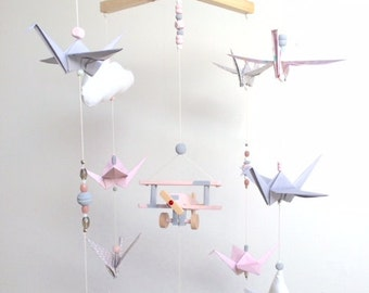 Baby Pink and gray wood mobile and origami