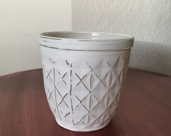 Small white chalk painted jar, succulent holder, small plant holder, small jar, painted and distressed jar, shabby chic jar, rustic jar