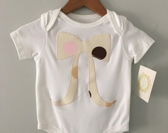 Pink, Cream, Brown and Beige Polkadot Bow Onesie - Bella and Fella Couture