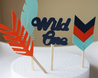 Wild one/ tribal/ boho/ aztec cupcake toppers