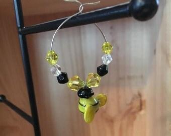 Bumble Bee Wine Glass Charm