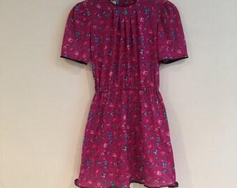 90s Magenta, Floral Dress!