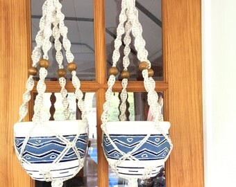 Macrame plant hangers, set of 2