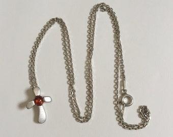 Stylish Vintage Orange Amber 925 Sterling Silver Cross Pendant Necklace