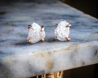 Raw Quartz Studs Rough Quartz Crystal Earrings Raw Quartz Earrings Uncut Quartz Studs Uncut Quartz Earrings Simple Quartz Studs White Stone