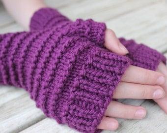 Girls Fingerless Gloves, Purple Fingerless Gloves, Wool Gloves Fingerless, Girls Wrist Warmers, Girls Texting Gloves, Purple Gloves