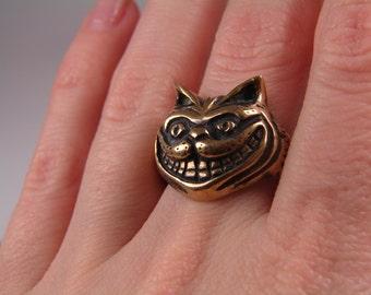 Cheshire Cat Ring, Alice in Wonderland Jewelry, Cheshire Cat Jewelry, Cat Jewelry, Kitty Ring Jewelry, Animal Cute Open Ring
