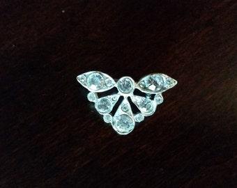Silver Brooch with Rhinestones