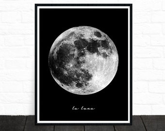 Moon Print, Moon Photo, Black and White Nursery, Planet Art, Planet Print, Outerspace Art, Astrology Print, Space Art, Black and White Print