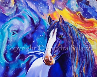 HORSE DRAWING PASTEL Fine Art Giclee Print Horse Art Pinto Horse Painting Gypsy Vanner Horse Signed Giclee Print Orion Nebula Equestrian Art