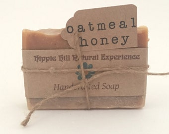 Unscented Handmade Soap, Oatmeal Honey Soap, Organic Natural Soap, Fragrance Free Soap, Gift Bar Soap, Oatmeal Homemade Soap