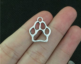 BULK 50 Hollow Dog Paw Outline Charms Antique Silver (YT1000)