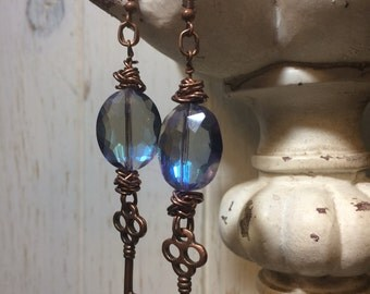 Blue Crystal Key Earrings