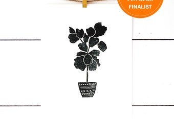 Black and White Art, Lino Print, Linocut print, Fiddle Leaf Fig, Block Print, Modern Art Print Monochrome Art, 8x10 Print, plant print