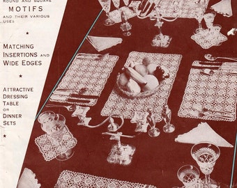 Vintage Crochet Pattern Book, crochet motif patterns, 20 pages, round and square motifs, Instant pdf Download, Digital download