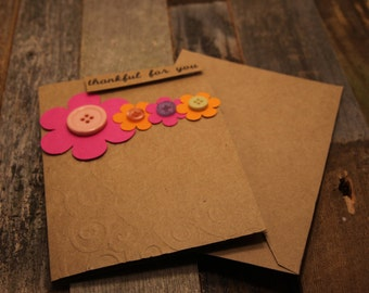 Spring Card, Flowers Card, Floral Card, Thankful for You Card, Thankful, Blessed, Glad to Have You, Card for Someone Special