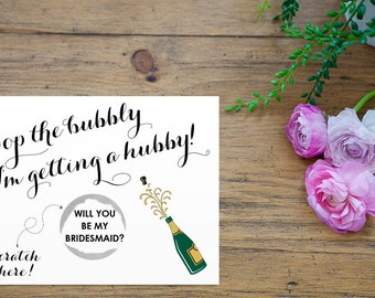 Scratch Off Silver Pop the bubbly I'm getting a hubby Card - Maid of Honor, Matron of Honor, Bridesmaid Ask Card with Metallic Envelope