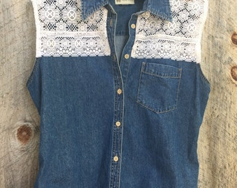 Upcycled Sleeveless denim and lace button up top
