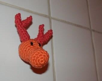 Deer, reindeer - Amigurumi crochet - Trophy with suction cup to hang