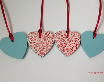 Hearts, Hanging Heart, Wooden Heart, Gift Tag, Present Topper, Floral Hearts, Tree Decoration, Hanging Decoration