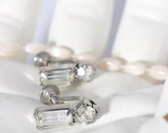 Weiss Screw Back Earrings with Clear Rhinestones / Wedding Jewelry