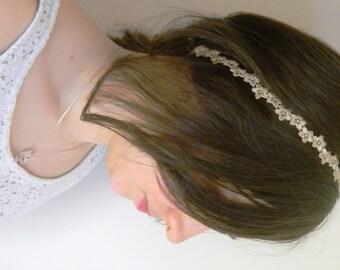Romantic lace beige/Brown headband