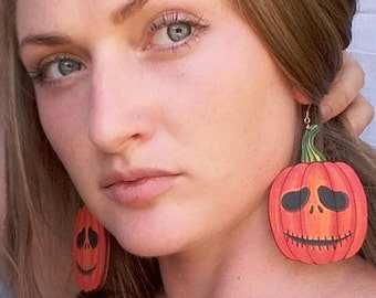 Halloween earrings. Pumpkin. Halloween party. Wooden earrings. Medical steel. Gift for her. Painting jewelry
