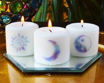 Sun, Moon, Truth Meditation Candles, Bohemian Votives, Hippie Candles, Meditation, Bohemian decor, Hippie decor,