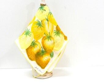 Vintage Yellow Strawberry Handkerchief...Fruit Hankie...Kit Ann Summer Strawberry Handerchief