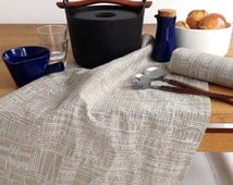 Tea Towel - Melbourne Cityscape White on Oatmeal Linen - Screen Printed Linen, Hand Printed, Hand Made in Melbourne