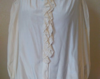 Vintage Antique Lace Trim Blouse, Vintage Cream Blouse, Frilly Blouse,