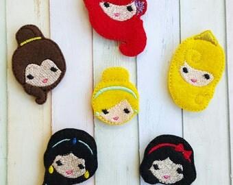Princess Emoji Machine Embroidered Felt Appliques Jasmine Aurora Ariel Belle Snow White Cinderella Felties Emoji Felties Princess Felties