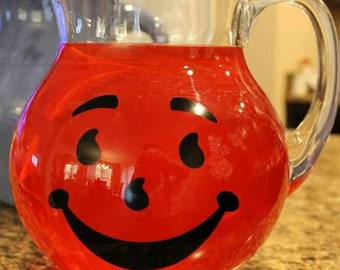 Kool Aid Pitcher - Glass pitcher - Lemonade Pitcher - Glass Bubble Pitcher - Childhood memories - Vintage Style Pitcher