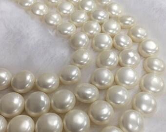 Shell Pearl White Oblate Shape 15mm in Diameter 27pcs 15''per Strand