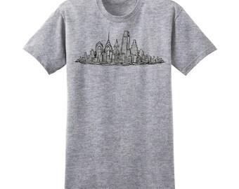Philadelphia Skyline Shirt - Black Ink Skyline Philly Art Design T-Shirt - Philly Graphic Design Art Tshirt by Local Artist - 1003