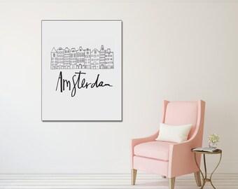 Amsterdam Printable, Digital Download,. Instant Download, Black and white, modern print, wall art, poster art, Scandinavian Design