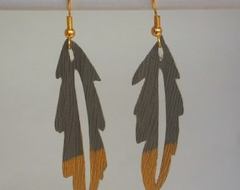 Faux Leather Gold-Dipped Feather Earrings in Espresso Brown Woodgrain. Handmade.