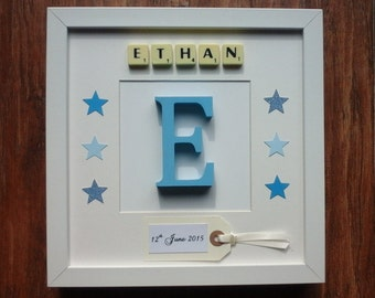 10x10 Frame Plastic/Wood Scrabble Art Picture Initial Letter Personalised 1 Name Boy Girl Baby Children Birthday Christmas Birth Christening