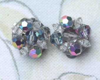 50s Earrings, Vintage Earrings, Cluster Earrings, 50s Clip Earrings, AB ClipOn
