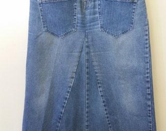 Women's,Size 10, Reconstructed Denim Skirt, Long