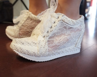 Wedding Shoes. Wedge Lace High Heeled Sneakers Tennis Shoes in White or Ivory (Alexa)